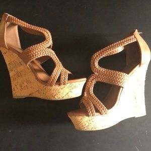 Cognac and Cork Charlotte Russe Wedges